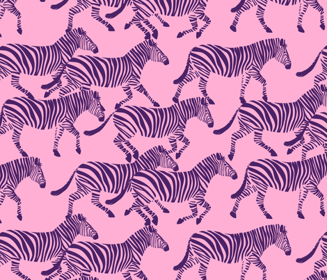 zebras in purple on pink fabric by littlearrowdesign on Spoonflower - custom fabric