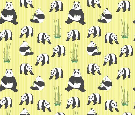 Panda Bears Munching on Bamboo fabric by manateedesignsco on Spoonflower - custom fabric