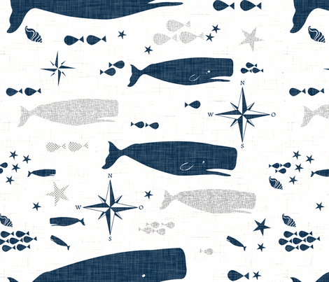Sperm Whale fabric by bruxamagica on Spoonflower - custom fabric