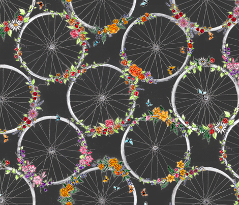 Petals&Spokes fabric by blairfully_made on Spoonflower - custom fabric