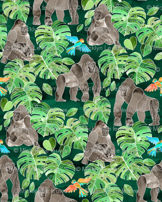 Gorillas in the Emerald Forest - large print