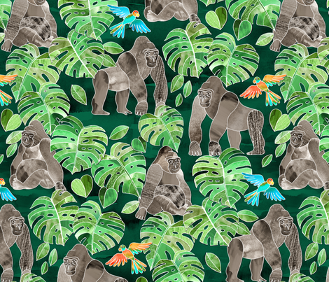 Gorillas in the Emerald Forest - large print fabric by micklyn on Spoonflower - custom fabric