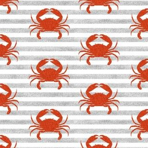 crab stripes nautical animal fabric grey