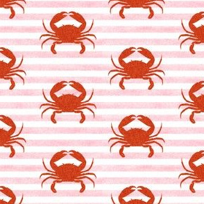 crab stripes nautical animal fabric pink