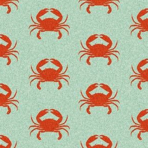 crab stripes nautical animal fabric mint