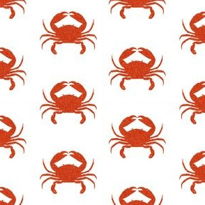 crab stripes nautical animal fabric white