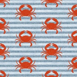 crab stripes nautical animal fabric blue
