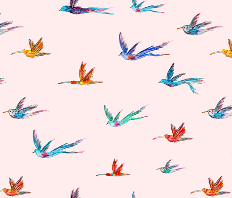 Endanged birds || watercolor fabric by katerinaizotova on Spoonflower - custom fabric