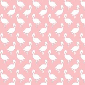 Flamingo Flock on Pink, Tropical Bird, Pastel Millenial Pink