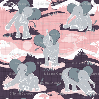 Baby African elephants joy night and day // pink