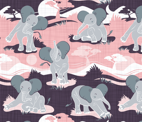 Baby African elephants joy night and day // pink fabric by selmacardoso on Spoonflower - custom fabric