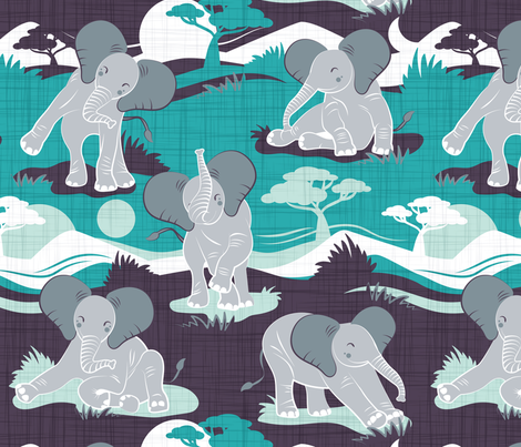 Baby African elephants joy night and day // teal  fabric by selmacardoso on Spoonflower - custom fabric