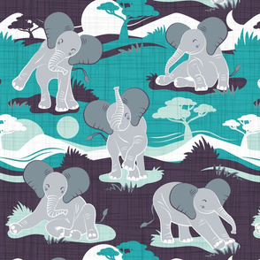 Baby African elephants joy night and day // teal