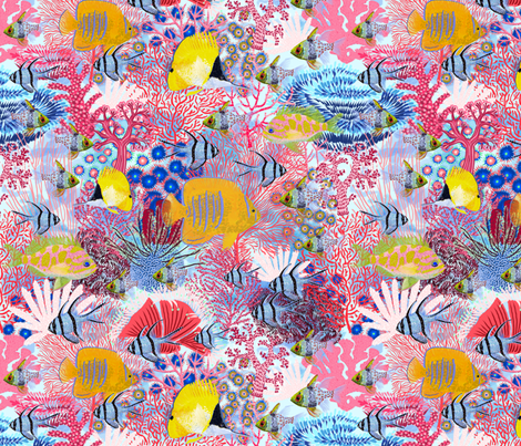 Save Coral Reef  fabric by helenpdesigns on Spoonflower - custom fabric