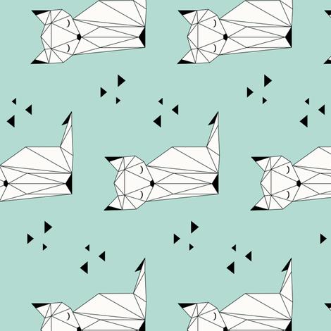 Sleepy Fox - Mint Background (vertical) fabric by kimsa on Spoonflower - custom fabric