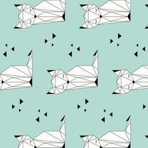 Sleepy Fox - Mint Background (vertical)
