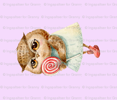 Cute  Owl with Lollipop  Pillow  Pink