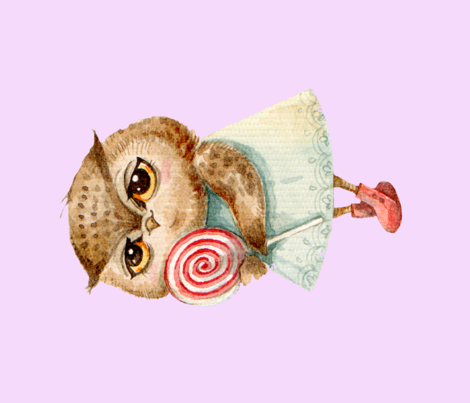 Cute  Owl with Lollipop  Pillow  Pink fabric by granny'shutch&ingapaltser on Spoonflower - custom fabric