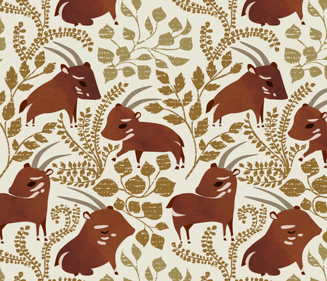 Saola {Light} fabric by ceciliamok on Spoonflower - custom fabric