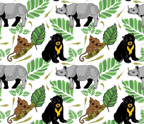 Borneo's loveable sunbear, rhino and tarsier fabric by mysso on Spoonflower - custom fabric