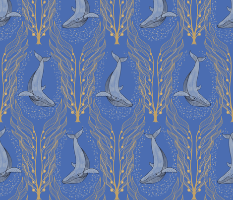Blue Whale fabric by magnoliaheatherart on Spoonflower - custom fabric