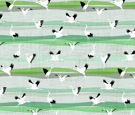 Green Grass Crane Dance fabric by mrshervi on Spoonflower - custom fabric
