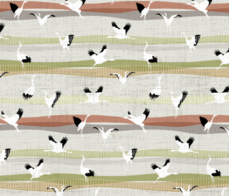 Mid Century Crane Dance fabric by mrshervi on Spoonflower - custom fabric