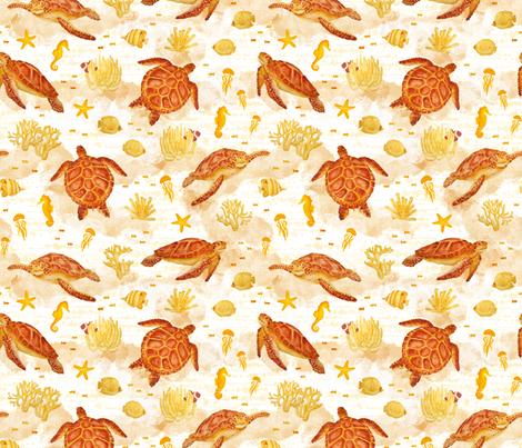 Hawksbill Sea Turtles fabric by boissindesign on Spoonflower - custom fabric