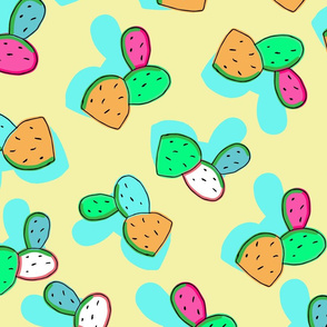 Cactus Silhouette Modern Punchy Pastel Colors on Yellow Background. Seamless Repeat Pattern
