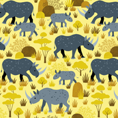 Endangered black rhino on yellow