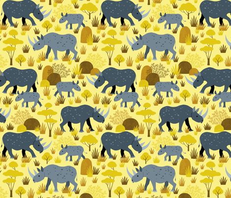 Endangered black rhino on yellow fabric by heleen_vd_thillart on Spoonflower - custom fabric