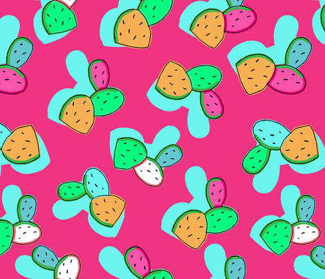 Colorful Cactus-Punchy Pastel Colors- on Punchy Pink Background.Seamless Repeat Pattern fabric by tal_la_vie on Spoonflower - custom fabric