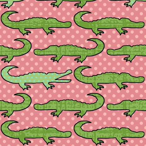 Bigger Gator Pink fabric by littlerhodydesign on Spoonflower - custom fabric