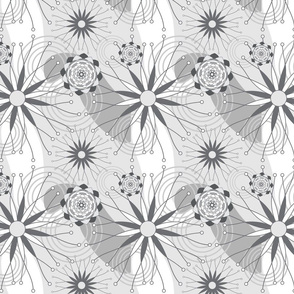 Gray and White Geometric Modern Flowers Seamless Repeat Pattern