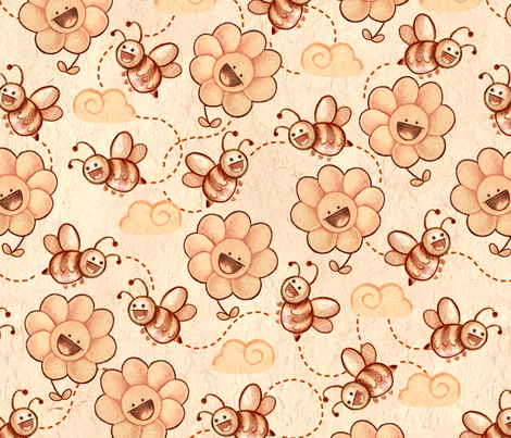 Bees and Flora fabric by noomx on Spoonflower - custom fabric