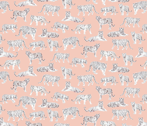 White Bengal Tiger | Peach Background fabric by imaginaryanimal on Spoonflower - custom fabric