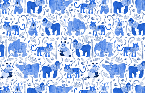 Pattern #80 - Endangered animals in shirts fabric by irenesilvino on Spoonflower - custom fabric
