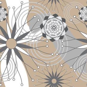 Geometric Modern Flowers Seamless Repeat Pattern