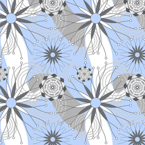Light Blue and Gray Geometric Modern Flowers Seamless Repeat Pattern