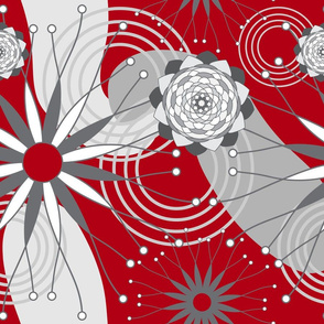 Red Gray and White Geometric Modern Flowers Seamless Repeat Pattern