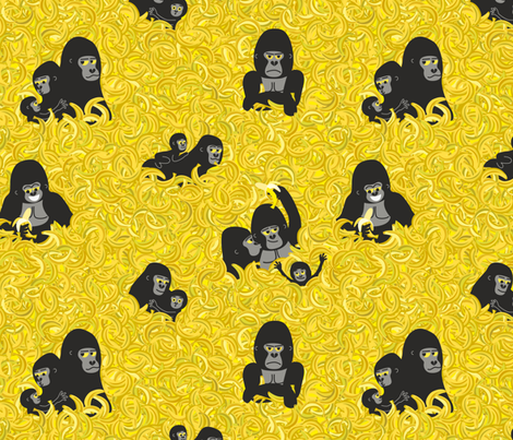 Gorillas and bananas. Endangered Species by unPATO fabric by unpato on Spoonflower - custom fabric
