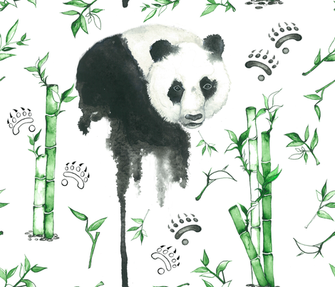 panda and paws fabric by dunia on Spoonflower - custom fabric
