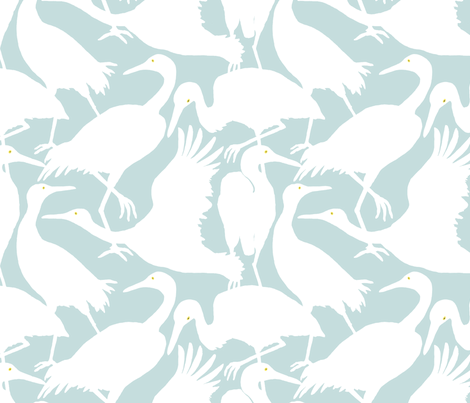 WHOOPING CRANES fabric by nadinewestcott on Spoonflower - custom fabric