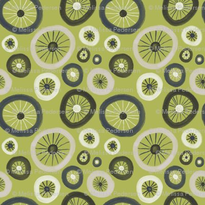Bicycle Tire polka dots in lime