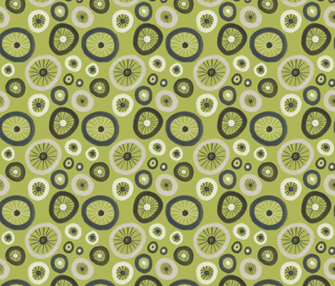 Bicycle Tire polka dots in lime fabric by new_branch_studio on Spoonflower - custom fabric
