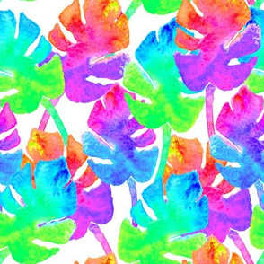 Watercolor Monstera Leaves in Neon Rainbow + White