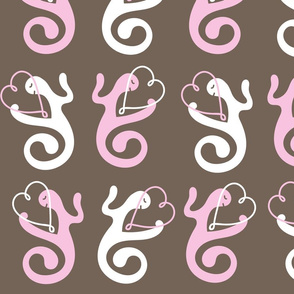Love Gestures, Valentine  Hearts of Love on Brown Background Seamless Repeat Pattern