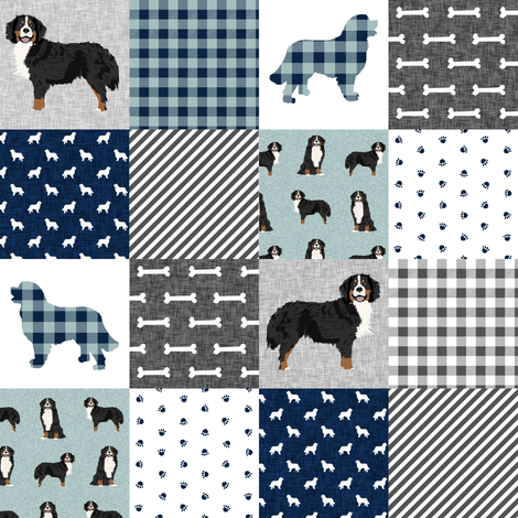 bernese mountain dog (2 Inch)  pet quilt b cheater quilt dog wholecloth fabric fabric by petfriendly on Spoonflower - custom fabric