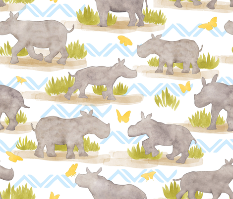 Baby Rhinos fabric by artfully_minded on Spoonflower - custom fabric