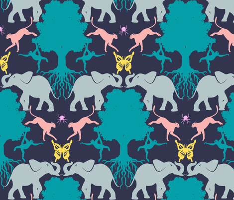 endangered species blue fabric by allison_crary on Spoonflower - custom fabric